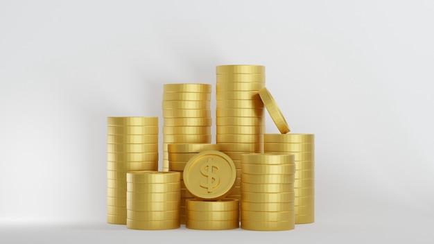 Pila di monete d'oro del dollaro su sfondo bianco, rendering 3d. concetto bancario e finanziario.