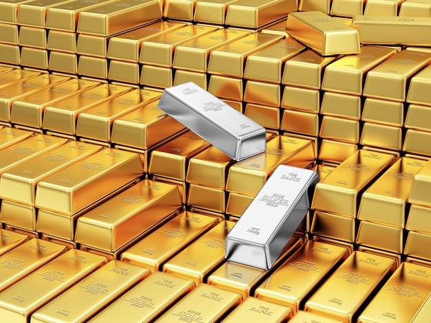 Pila di barre d'oro e d'argento nel caveau della banca