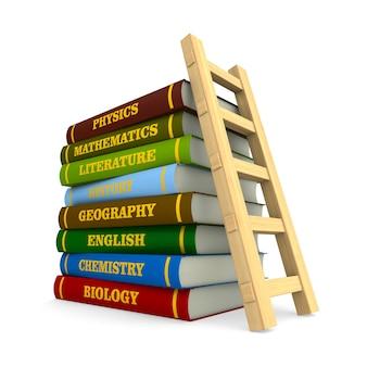 Pila di libri di testo con copertina rigida e scala su sfondo bianco. illustrazione 3d isolata