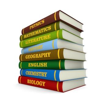 Pila di libri di testo con copertina rigida su sfondo bianco. illustrazione 3d isolata