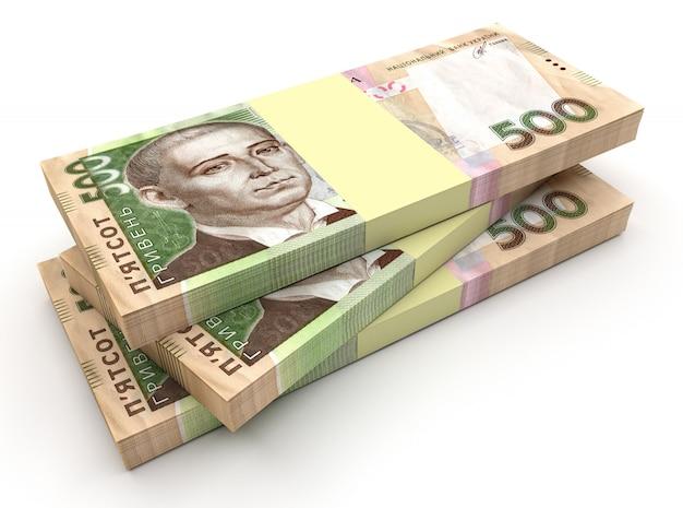 Pila di grivna di denaro ucraino