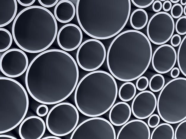 Impilare tubi metallici. rendering 3d