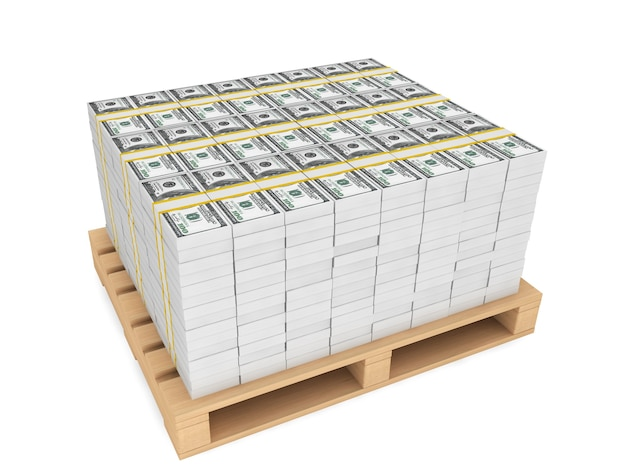 Pila di soldi con pallete di legno su sfondo bianco