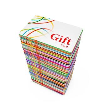 Pila di carte regalo in plastica multicolore su sfondo bianco. rendering 3d