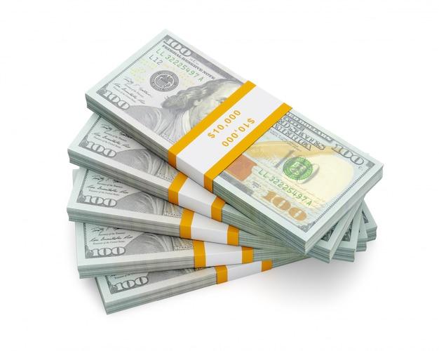 Pila di nuove 100 banconote in dollari usa edizione 2013