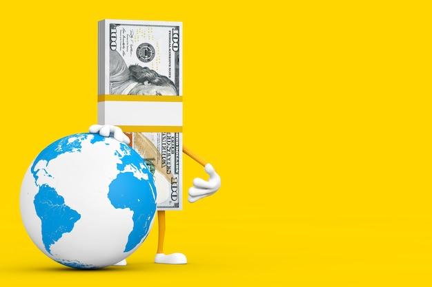 Pila di cento fatture del dollaro persona mascotte del carattere con il globo terrestre in tutto il mondo su uno sfondo giallo. rendering 3d
