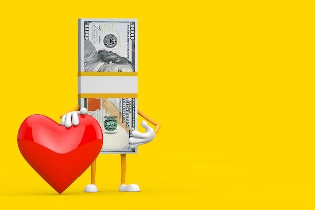 Pila di cento fatture del dollaro persona mascotte del carattere con cuore rosso su sfondo giallo. rendering 3d