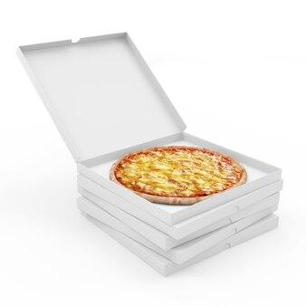 Pila di scatole per pizza con pizza fresca all'interno