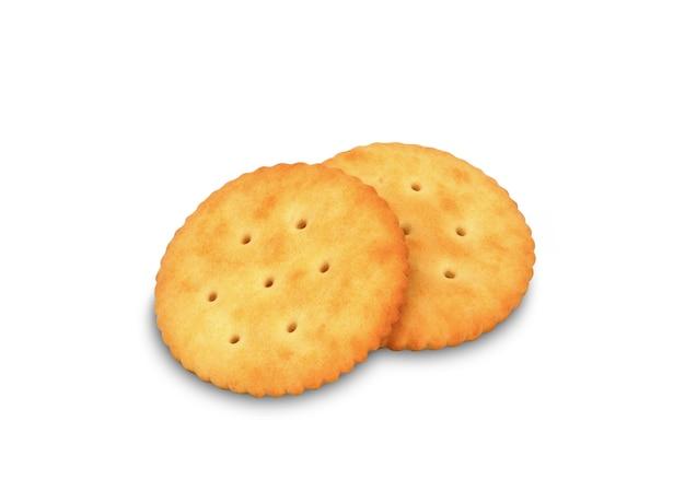Pila di biscotti rotondi del cracker del formaggio sul fondo bianco di colore