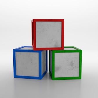 Pila di tre colorati cubi giocattolo isolati su sfondo bianco. rendering 3d
