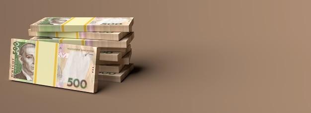 Pila di denaro ucraino grivna grivna grivna con spazio copia vuoto background space