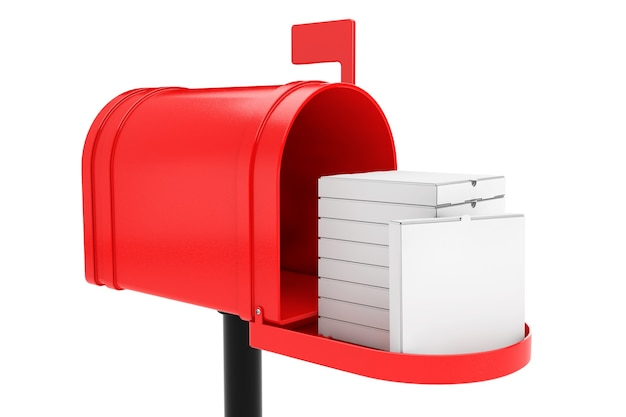 Pila di scatole per pizza di cartone vuote bianche nella cassetta postale rossa su sfondo bianco. rendering 3d