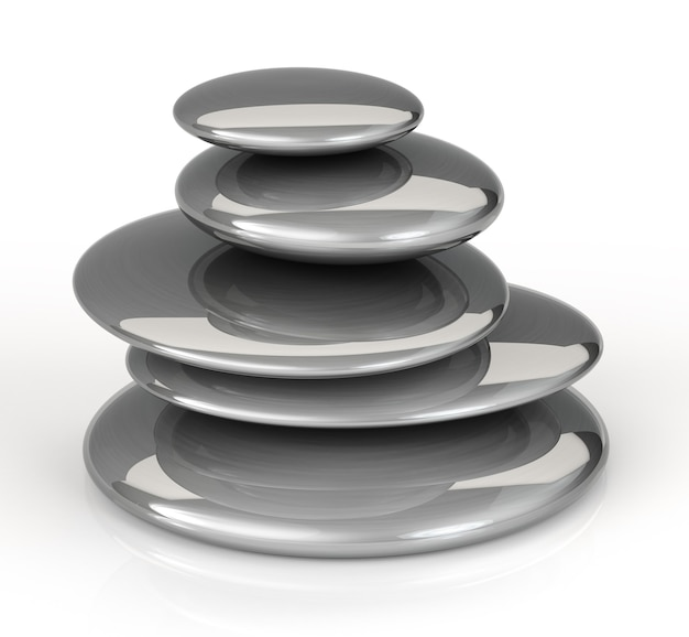 Pietre nere impilate di massaggio su fondo bianco. rendering 3d