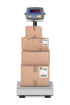 Scatole di cartone impilate pacchi su scale di carico digitali di magazzino su sfondo bianco. rendering 3d