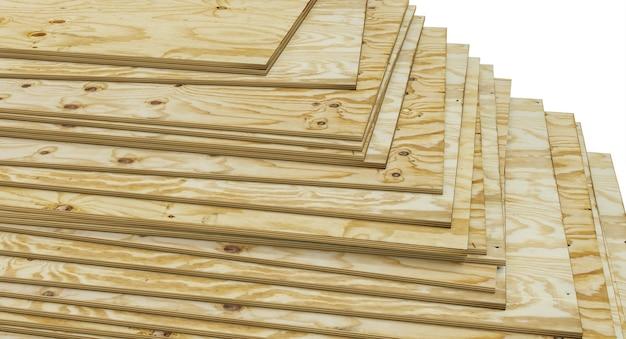 Pannelli in multistrato di pino impilati. industria di costruzioni. rendering 3d.