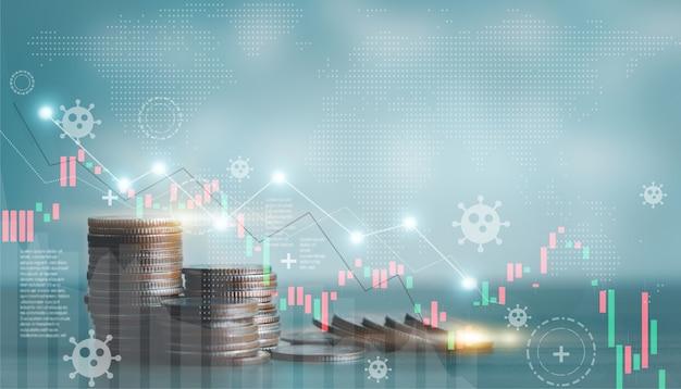 Impilamento della crescita verso il basso del grafico delle monete grafico finanziario per la crisi finanziaria e aziendale, il capitale bancario e gli investimenti, il concetto di mercato azionario delle monete. impatto crollo del problema dell'economia globale crolla al ribasso.