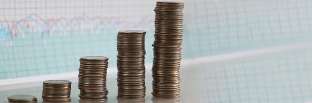 Pile di monete che aumentano in fila sullo sfondo di indicatori finanziari