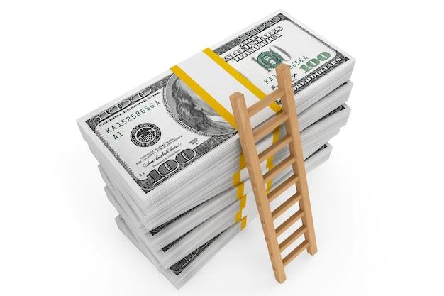 Pile di dollari con una scala su sfondo bianco