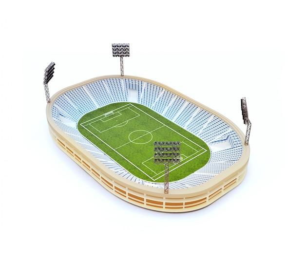 Lo stadio con il campo di calcio con la luce sta isolato su bianco