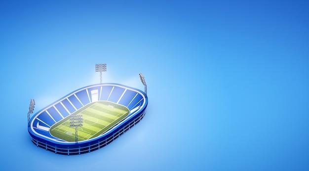 Stadio con campo da calcio con le luci