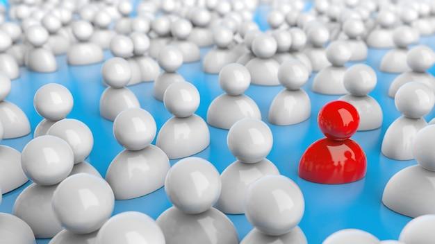 Selezione del personale, risorse umane. folla di persone e un leader rosso speciale. sfondo blu. rendering 3d.