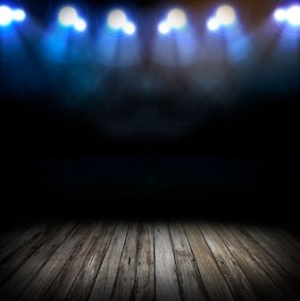 Sfondo di illuminazione del palco. luci luminose dell'arena dello stadio