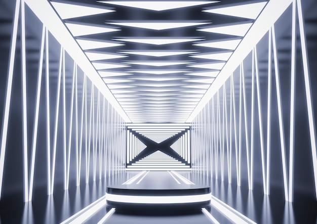 Podio sul palco con illuminazione per display o vetrina sul podio