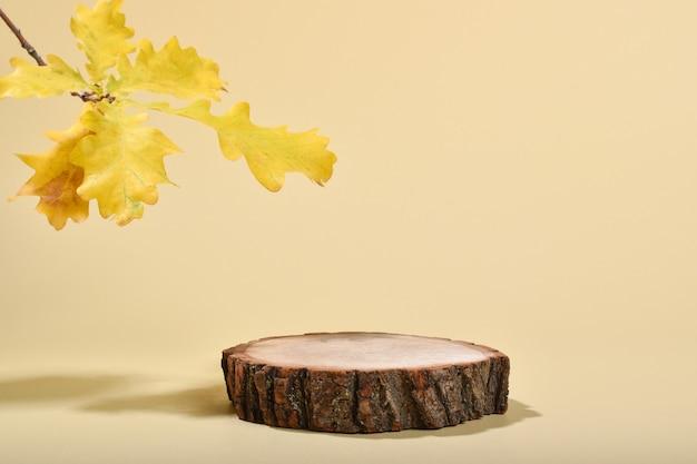 Un palco con una vetrina in legno naturale e foglie di quercia. scena del marchio minimalista.