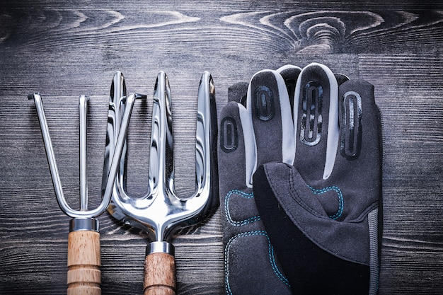 Rastrello in acciaio inox cazzuola forcella guanti protettivi giardinaggio concetto