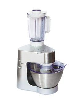 Robot da cucina in acciaio inox isolato su bianco