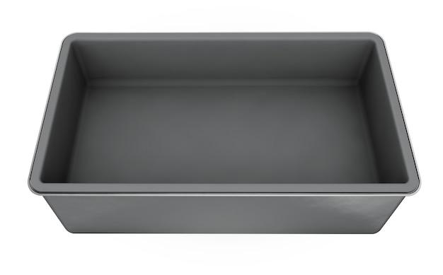 Contenitore in acciaio inossidabile o metallo stagno argento lucido con manico isolato su sfondo bianco per mock up e packaging design. illustrazione di rendering 3d.