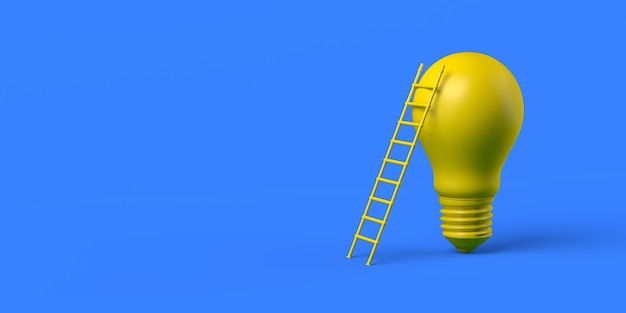 Scale supportate da una lampadina concetto di raggiungere un'idea 3d illustrazione banner background