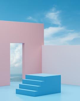 Fase del podio delle scale con cielo blu e sfondo dell'oceano per il rendering 3d di posizionamento del prodotto