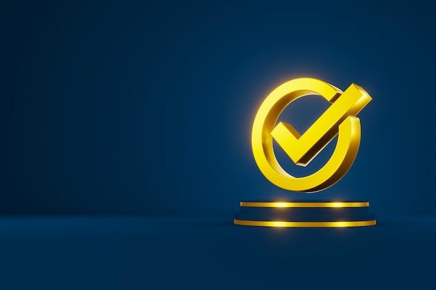 Garanzia di garanzia della certificazione del controllo di qualità standard. segno di spunta segno 3d e copia spazio. illustrazione 3d