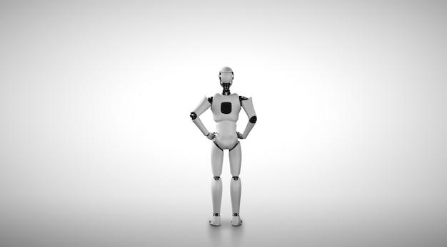 Robot umanoide in piedi che guarda avanti su uno sfondo pulito
