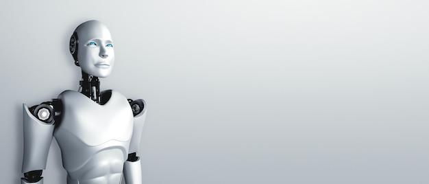 Robot umanoide in piedi in attesa su sfondo pulito