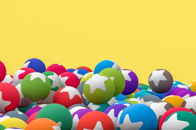La stella emoji 3d rende il fondo, simbolo dell'aerostato di media sociali