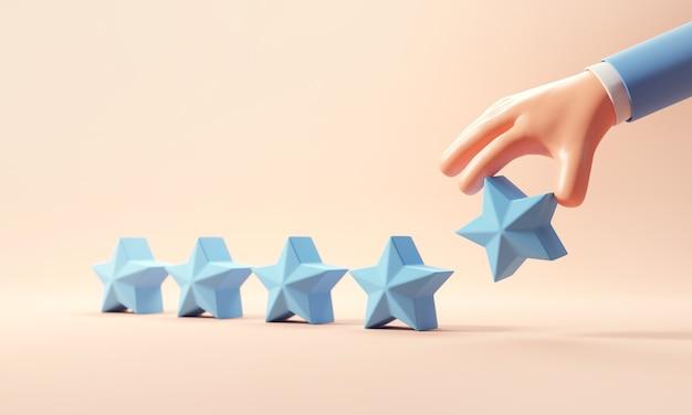 Tasso di stelle 5 recensione cliente cinque servizio esperienza soddisfazione migliore valutazione aziendale mano cliente dipendente settore marketing punteggio benchmark blu copia spazio feedback gestione