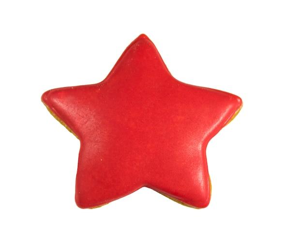 Biscotto di pan di zenzero a forma di stella isolato su sfondo bianco