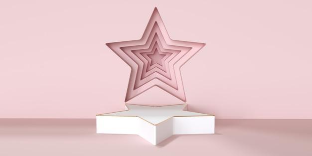 Podio a forma di stella per il rendering 3d di presentazione