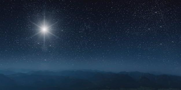 La stella risplende sul presepe di natale di gesù cristo.