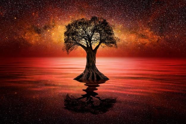 Notte stellata sul lago con albero