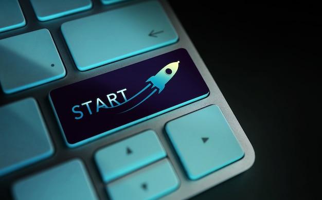 Avviare la sfida concetto di avvio e motivazione primo piano del razzo e segno di avvio startup