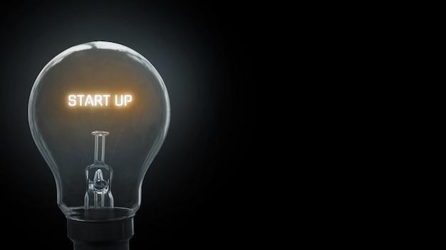 Avvia il testo sullo sfondo della lampadina