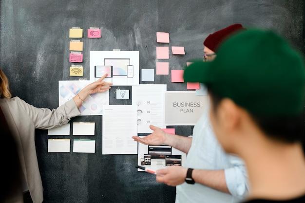 Brainstorming del team di avvio nella sala riunioni utilizzando la lavagna