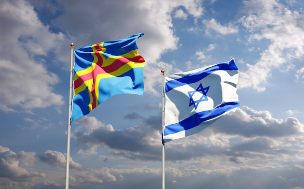 Bandiere di stato di israele e isole aland insieme sullo sfondo del cielo