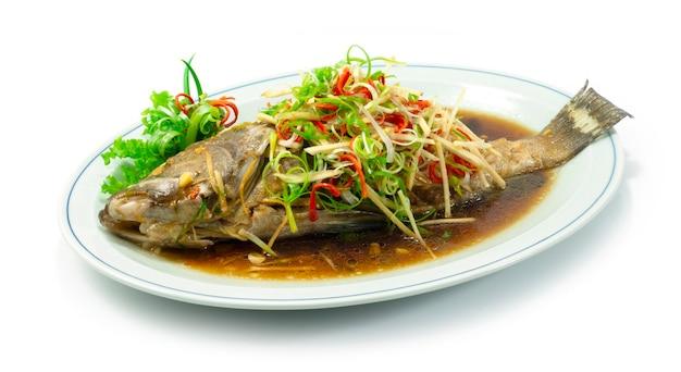 Pesce cernia al vapore con salsa di soia vista laterale in stile cibo cinese