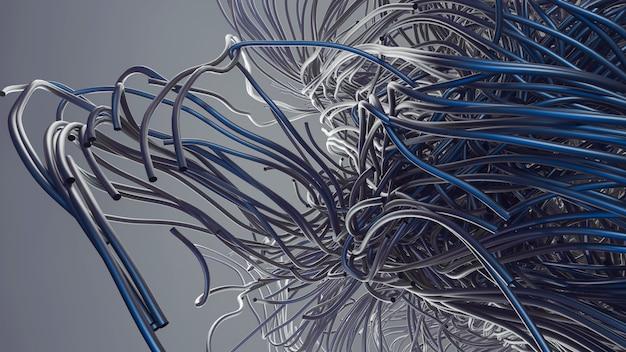 Astrazione di tubi in acciaio o alluminio. progettazione di tubi in acciaio 3d. tubi per capelli di colore grigio e blu. sfondo neutro