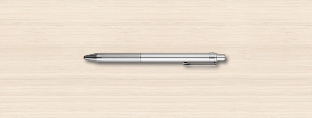 Penna in metallo acciaio isolato su sfondo bianco in legno banner
