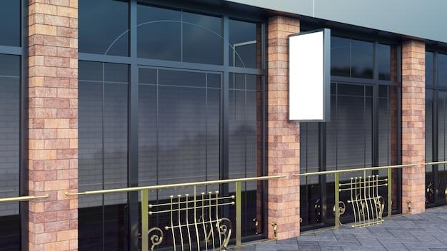 Il modello d'acciaio sul tabellone per le affissioni in bianco verticale della via della città per la dimostrazione di progettazione rende.